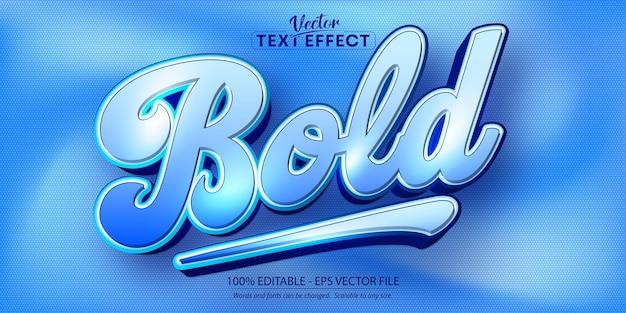 Fetter text, bearbeitbarer texteffekt im blauen farbstil