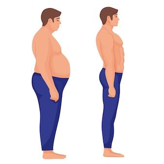 Fetter und athletischer mann. vor und nach einer fettleibigen person, die charakter zeigte und diät machte.