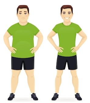 Fetter und schlanker mann, vor und nach gewichtsverlust in sportbekleidung isoliert
