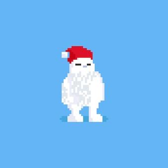 Fettes tier des pixels mit sankt-hut. weihnachten.8bit.
