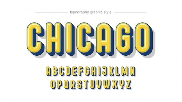 Fettgedruckte, abgerundete gelbe 3d-typografie in großbuchstaben