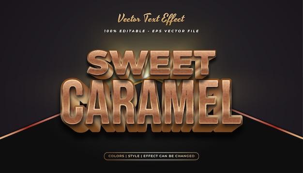Fettgedruckter karamell-textstil 3d mit geprägtem effekt im gold- und braunkonzept