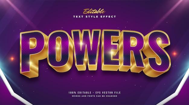 Fettgedruckter lila und goldener textstil mit gebogenem effekt