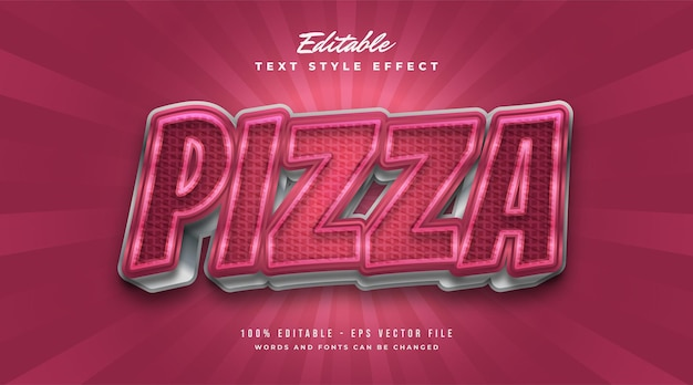 Fettgedruckter roter pizza-textstil mit kariertem textureffekt. bearbeitbare textstileffekte