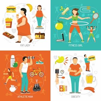 Fettleibigkeit und gesundheitskonzept