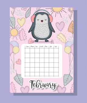 Feubrary-kalenderinformationen mit pinguin und blumen