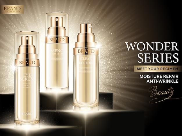 Feuchtigkeitsreparaturanzeigen, kosmetische goldene sprühflasche gesetzt in illustration mit leuchtendem hintergrund