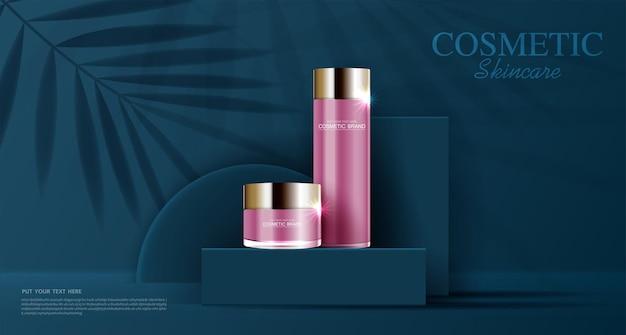 Feuchtigkeitsspendende gesichtscreme für den jährlichen verkauf oder festivalverkauf rosa und goldene crememaskenflasche isoliert
