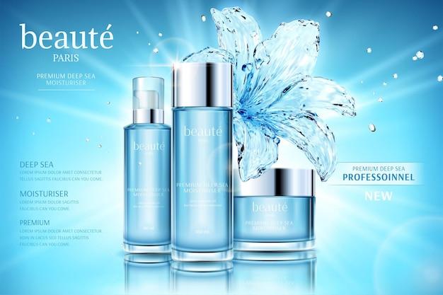 Feuchtigkeitsspendende kosmetik-set-werbung mit transparenter seerose auf glitzernd blauem hintergrund
