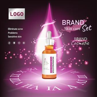 Feuchtigkeitsspendende kosmetikanzeigen und rosafarbener hintergrund für die flaschenhautpflege mit erstklassigem lichteffekt und blume