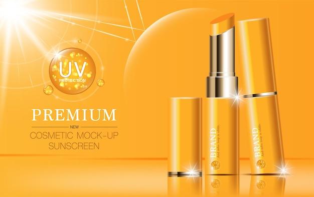 Feuchtigkeitsspendender gesichtslippenstift für den jahresverkauf oder festivalverkauf. orange und goldene lippenstift-maskenflasche.