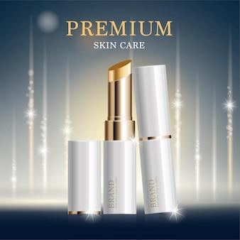 Feuchtigkeitsspendender gesichtslippenstift für den jahresverkauf oder festivalverkauf. weiße und goldene lippenstift-maskenflasche.