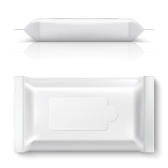 Feuchttücher flow pack. realistisches weißes abwischen, das leeren leeren plastikgewebekasten der kissenverpackung 3d verpackt