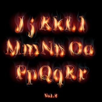 Feuer brennende lateinische alphabetbuchstaben.