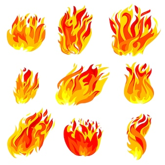 Feuer, fackel-flammen-ikonen-satz lokalisiert auf weißem hintergrund.