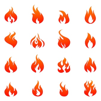 Feuer flach icon set