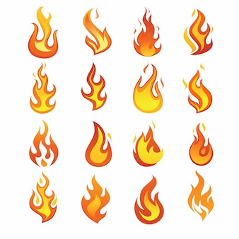 Feuer flamme icon set