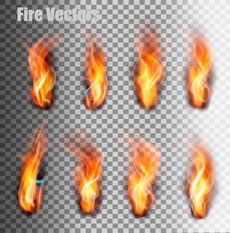 Feuer flammen eingestellt. vektor.
