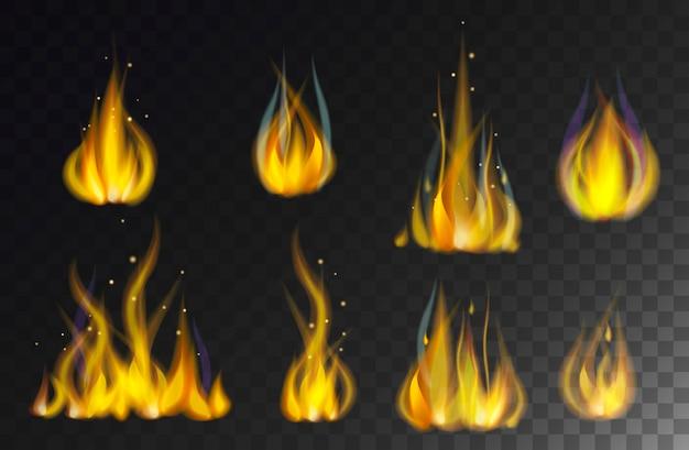 Feuer flammt die sammlung, die auf schwarzem hintergrundvektor lokalisiert wird.