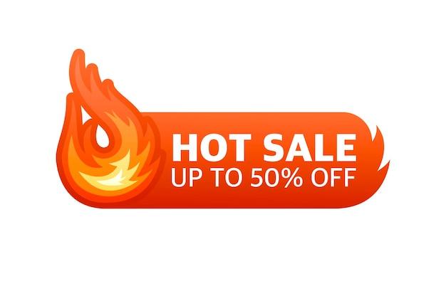 Feuer hot deal vektor-design-element roter banner-vektor sonderangebot abzeichen moderne promotion