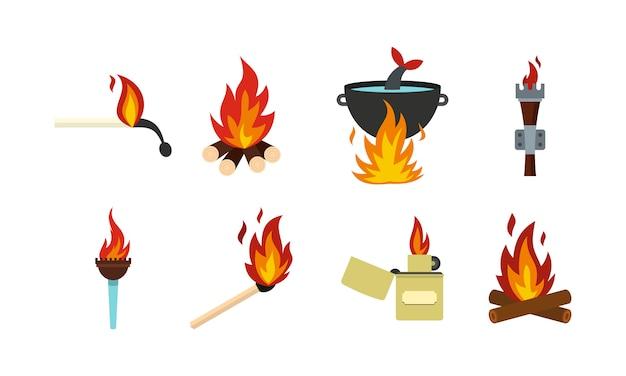Feuer-icon-set. flacher satz der feuervektor-ikonensammlung lokalisiert