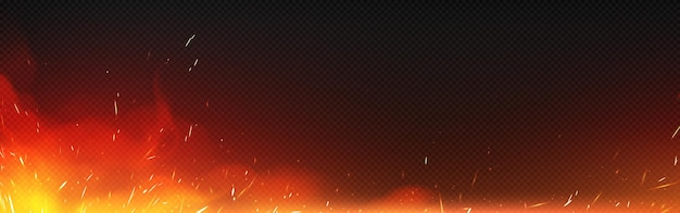 Feuer mit funken und rauch lokalisiert auf transparentem hintergrund. vektor realistische illustration der heißen flamme mit fliegenden glitzern und brennenden partikeln vom lagerfeuer, von der zündung oder vom schmiedeofen