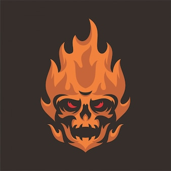 Feuer-schädel-kopf-maskoten-logo
