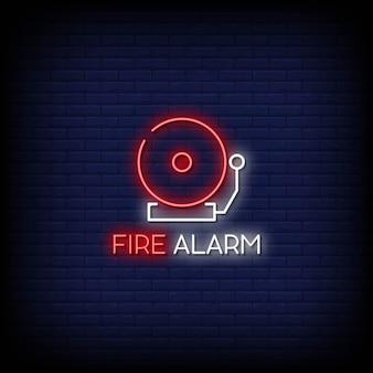 Feueralarm neonzeichen stil text