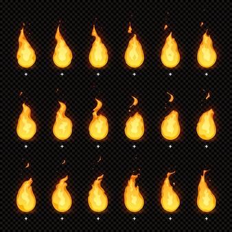 Feueranimation. flammende flammen, feurige flammen und animierte lodernde feuerflammen isolierten animationsrahmen