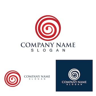 Feuerballwirbel-logo und symbolvektorbild