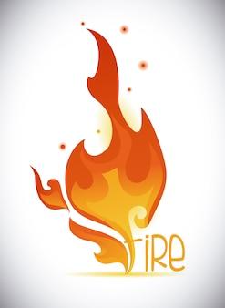 Feuerdesign über grauer hintergrundvektorillustration