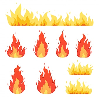 Feuerflamme, lagerfeuer. rot-gelb brennende feurig flammende symbole.