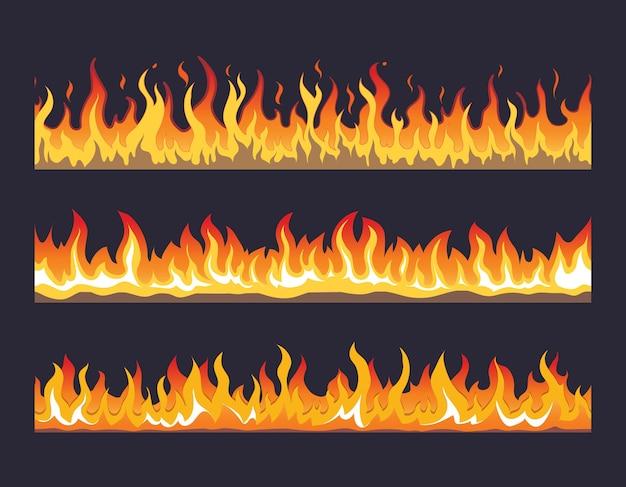 Feuerflamme nahtloses set. verbrenne heiße, warme wärmeenergie, brennbar feurig