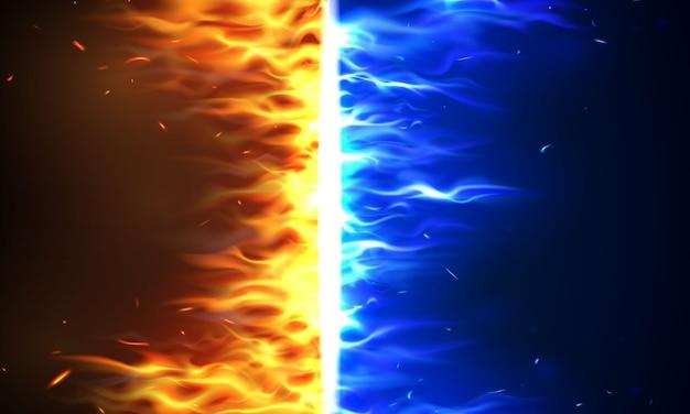 Feuerflammen versus vs zeichen, das durch elemente, wasserspritzer und blitz explodiert brennender glühender glühender funken realistischer abstrakter hintergrund