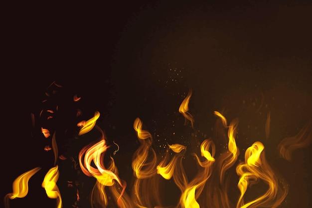 Feuerflammenelementvektor im schwarzen hintergrund