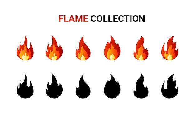 Feuerflammenkarikatursatz lokalisiert auf weiß