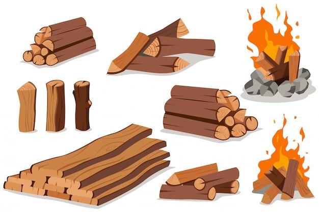 Feuerholz und lagerfeuer. log und lagerfeuer cartoon flat set isoliert auf weiß