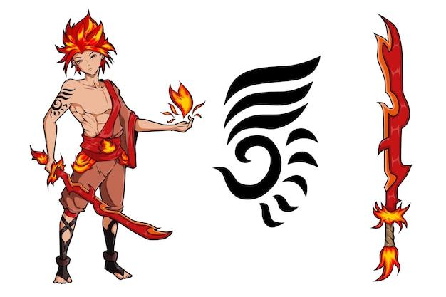 Feuerjunge mit feuerschwert-charakterspieldesign
