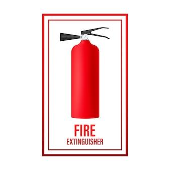 Feuerlöscher auf das feuer gerichtet. schutzsymbol.