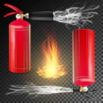 Feuerlöscher-vektor. realistische feuer-flamme des zeichen-3d und roter feuerlöscher. transparente hintergrundillustration