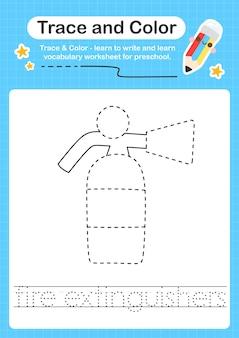 Feuerlöscher verfolgen und farbe vorschule arbeitsblatt spur für kinder zum üben der feinmotorik