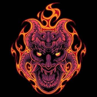 Feuerschädelkopf-maskottchen-logo