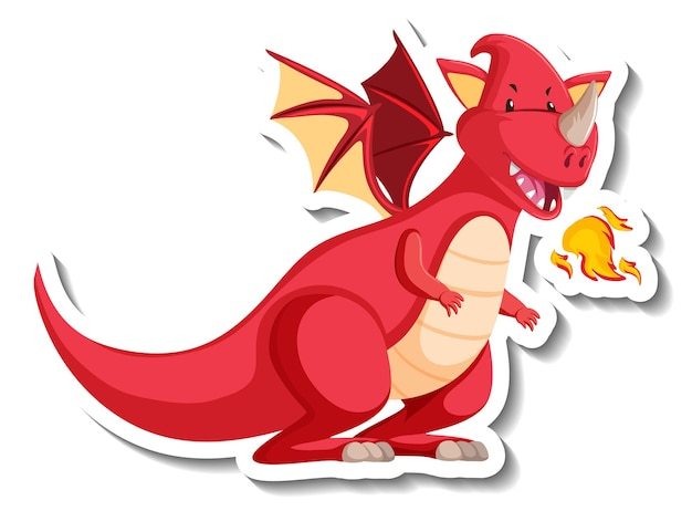 Feuerspeiender drachen-cartoon-charakter-aufkleber