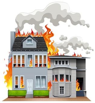 Feuerszene im wohngebiet