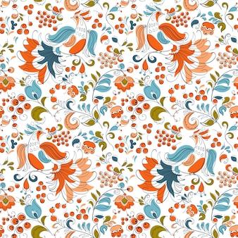 Feuervögel und johannisbeeren im russischen fentesy-stil