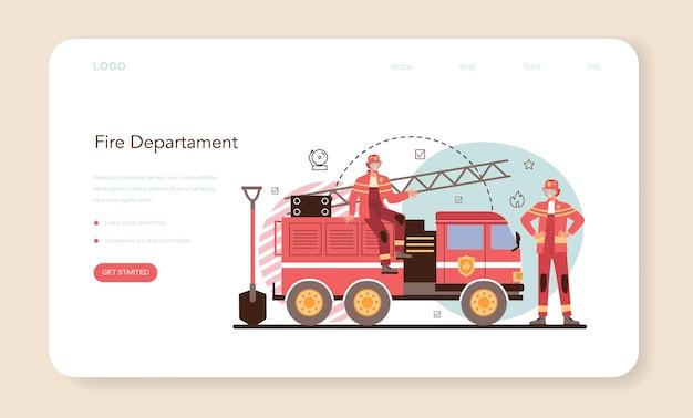 Feuerwehr-webbanner oder landingpage berufsfeuerwehr