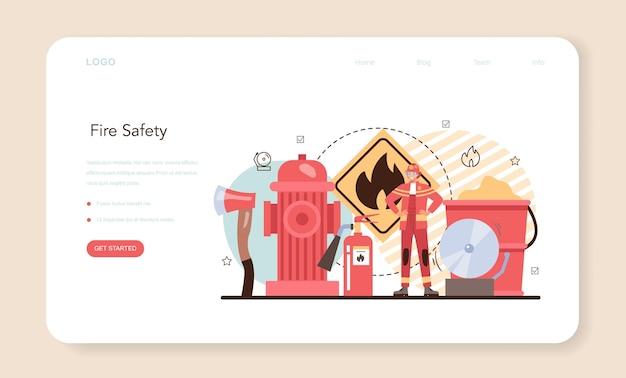 Feuerwehr-webbanner oder landingpage. berufsfeuerwehr
