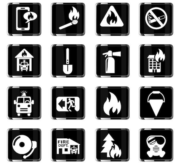 Feuerwehr-websymbole für die gestaltung der benutzeroberfläche
