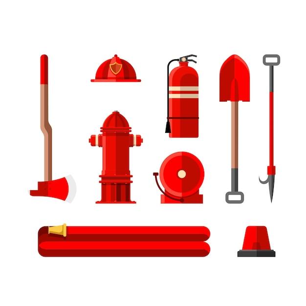 Feuerwehr werkzeuge hydranten helm axt schaufel alarm feuerlöscher sirene brechstange feuerwehrschlauch