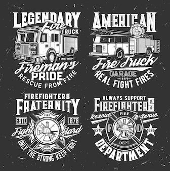 Feuerwehrabzeichen und feuerwehrauto-t-shirt-vektordruck. feuerrettungsteam, notfallkleidung grungy druckvorlage. amerikanisches feuerwehr-wassertenderfahrzeug mit leiter, helm, haken und axt